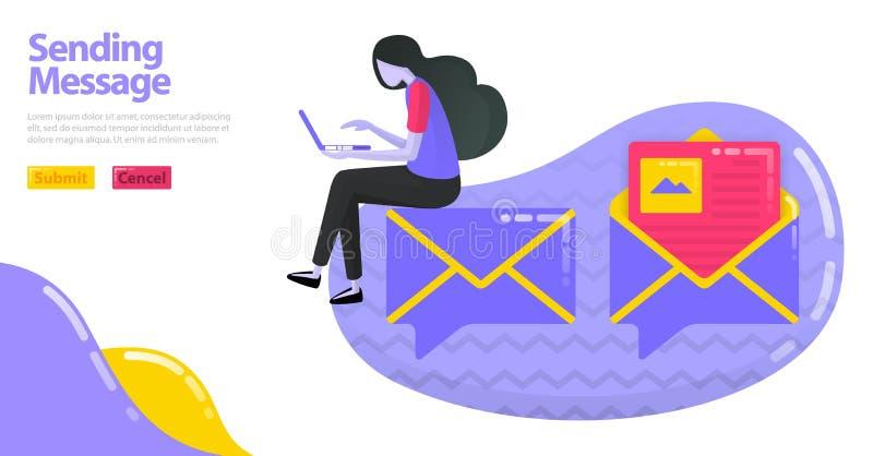 Ejemplo de enviar el mensaje Icono de la charla del globo con el mapa o el sobre de imagen Email abierto y leído concepto plano d libre illustration