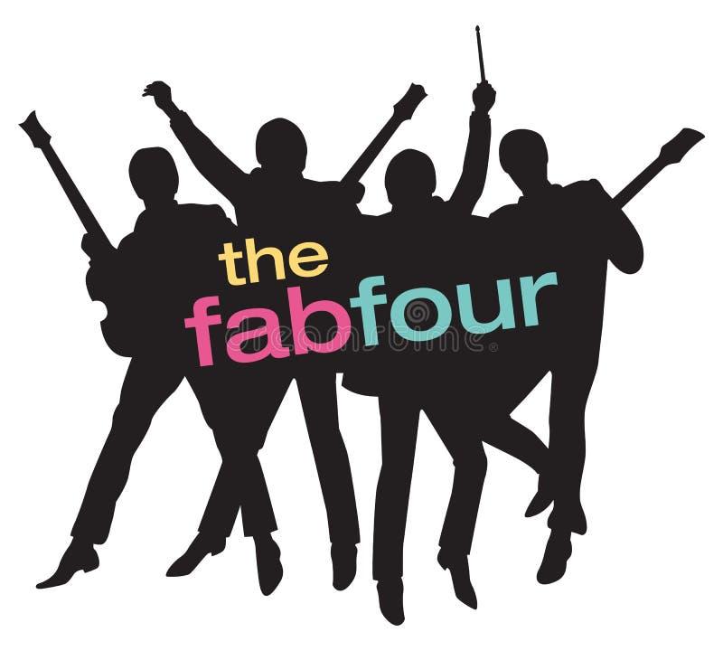 Ejemplo de Fab Four Beatles Silhouette Vector ilustración del vector