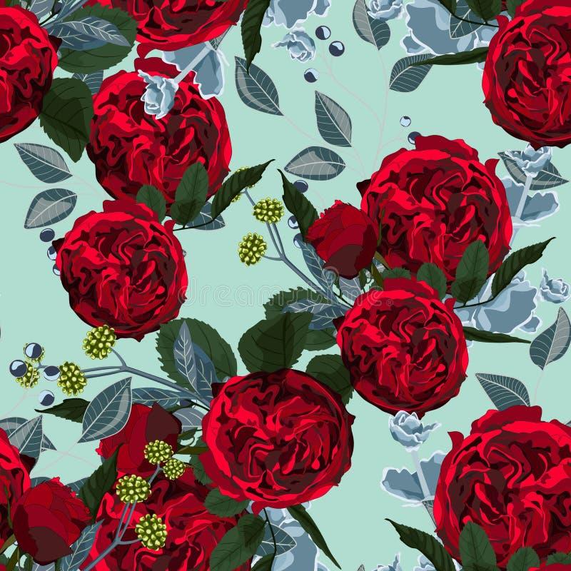 Ejemplo de flores rojas y suculento Modelo inconsútil de la peonía y de hierbas en fondo verde stock de ilustración