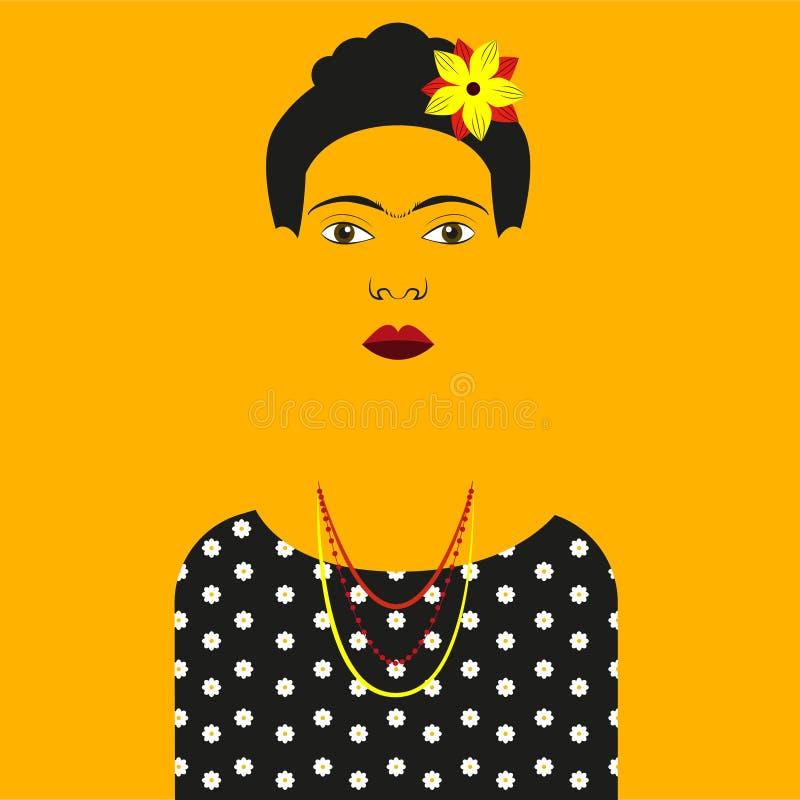 Ejemplo de Frida Kahlo Vector stock de ilustración