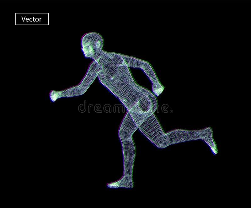Ejemplo de funcionamiento del arte del wireframe del hombre Punto bajo poligonal del espacio polivin?lico con los puntos y las l? ilustración del vector