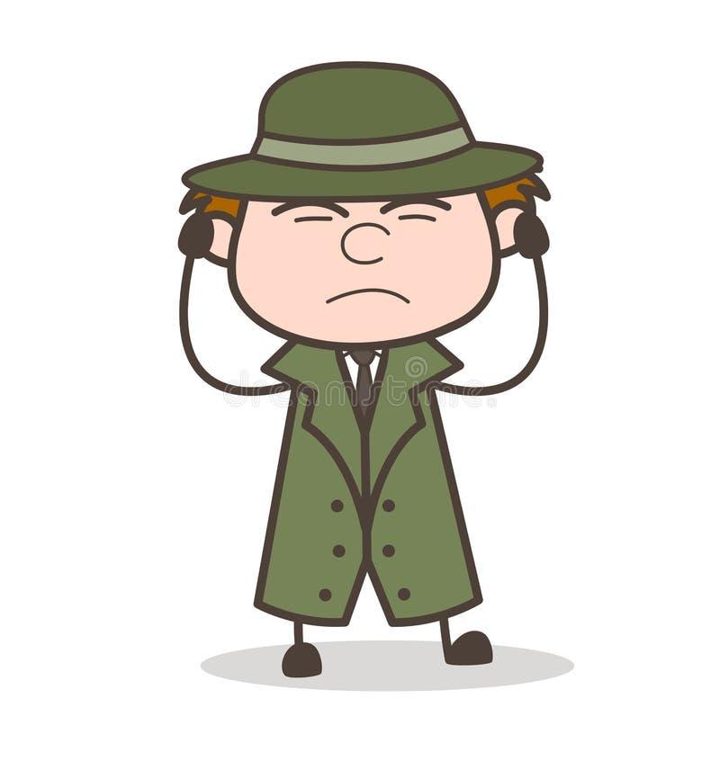 Ejemplo de Getting Irritated Vector del detective de la historieta stock de ilustración