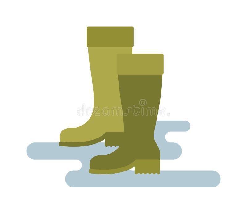 Ejemplo de goma verde del vector del color verde de las botas de lluvia aislado en el fondo blanco stock de ilustración
