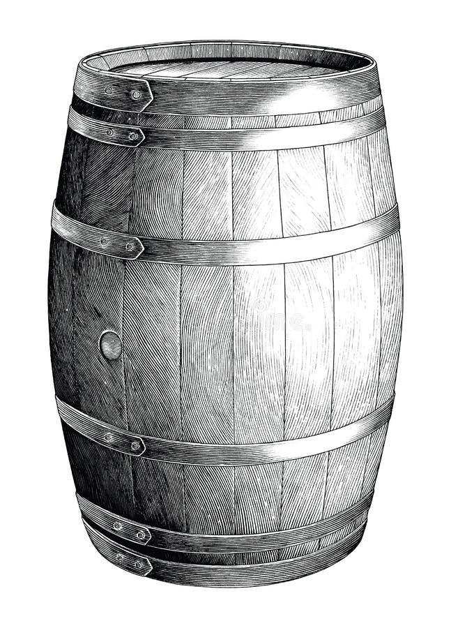 Ejemplo de grabado antiguo de la mano del barril del roble que dibuja el clip art blanco y negro aislado en el fondo blanco, alco stock de ilustración