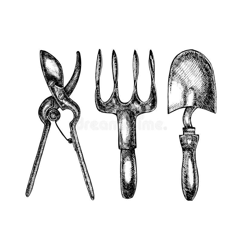 Ejemplo de Grafic de utensilios de jardinería Aislado en el fondo blanco ilustración del vector