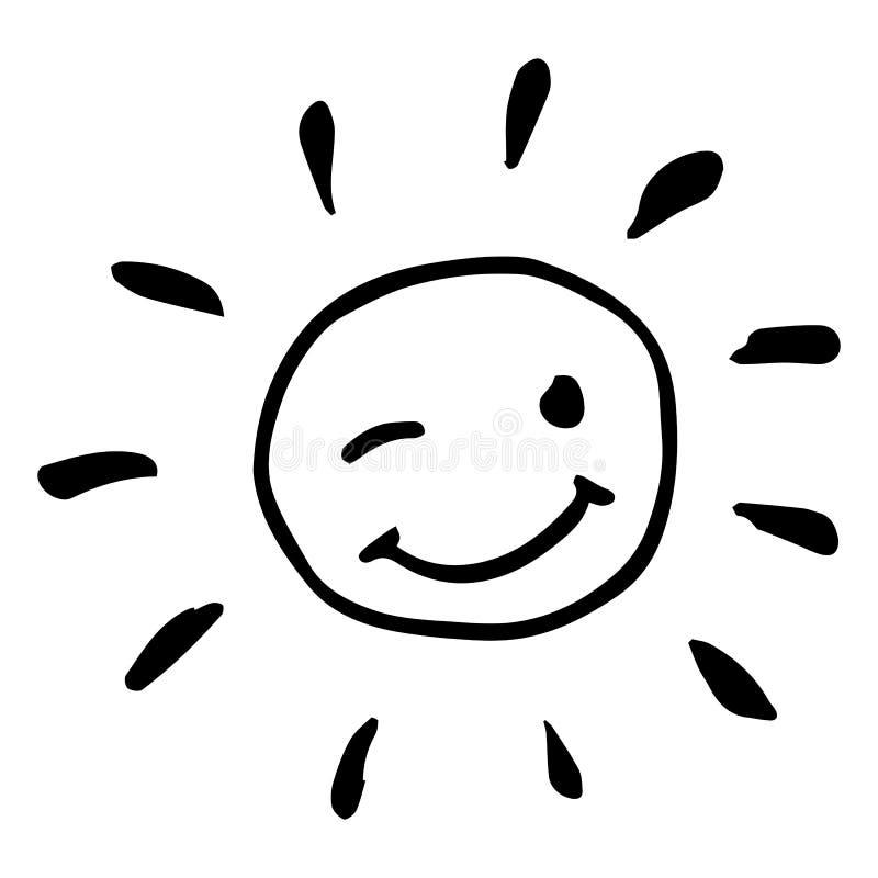 Ejemplo de guiño feliz blanco y negro creativo del vector del sol fotos de archivo libres de regalías