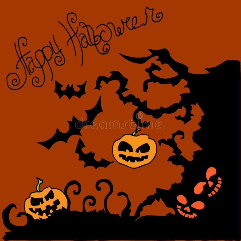 Ejemplo de Halloween Árbol adornado con las calabazas Buenas fiestas stock de ilustración