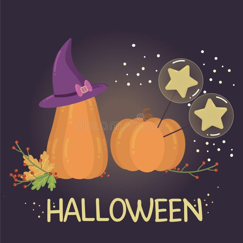 Ejemplo de Halloween con las calabazas y la magia ilustración del vector