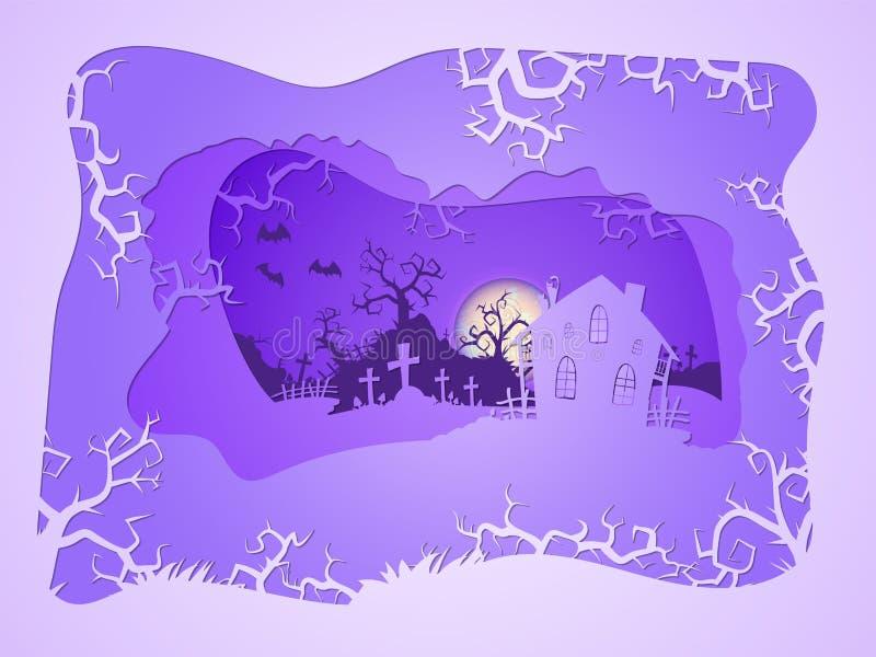Ejemplo de Halloween del vector con la casa y los sepulcros stylization acodado 3d ilustración del vector