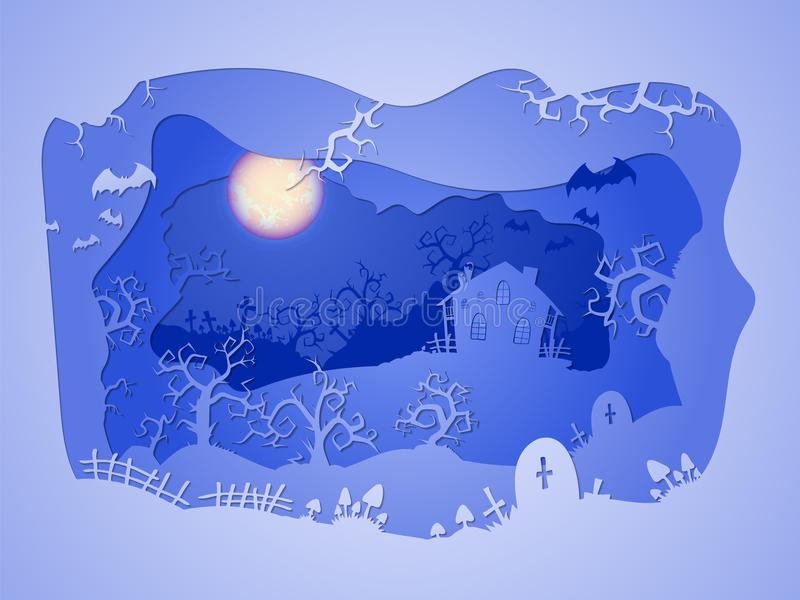 Ejemplo de Halloween del vector con la casa y los sepulcros stylization acodado 3d stock de ilustración