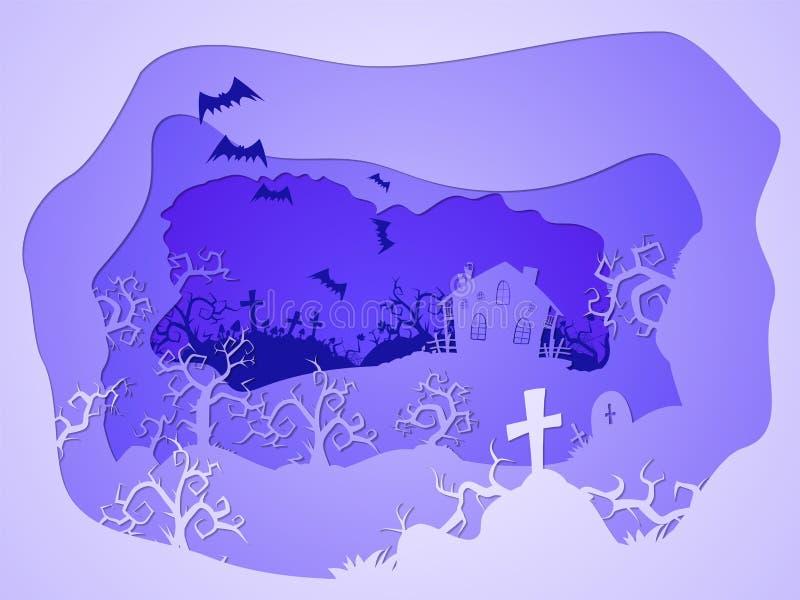 Ejemplo de Halloween del vector con los sepulcros y la casa stylization acodado 3d ilustración del vector