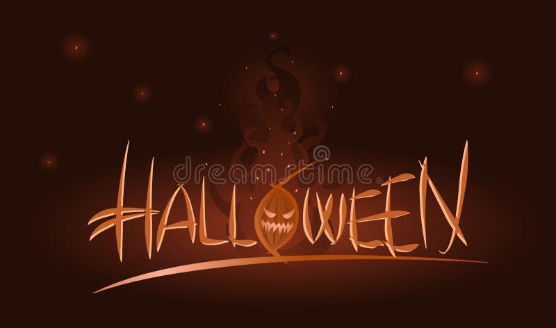 Ejemplo de Halloween del vector de la calabaza en llamas libre illustration