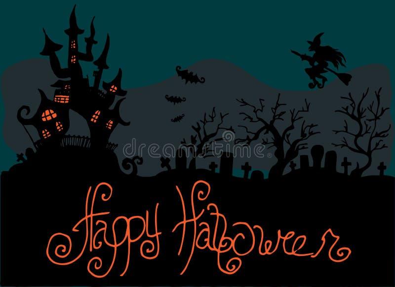 Ejemplo de Halloween El cementerio cerca del castillo Buenas fiestas libre illustration