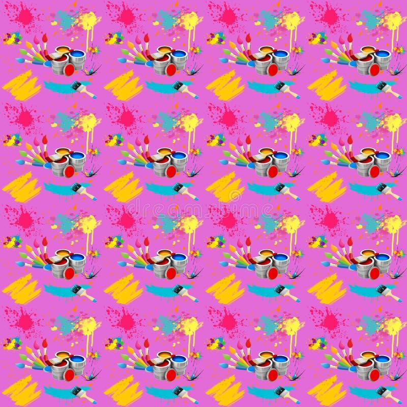 Ejemplo de inconsútil con la imagen de los cepillos con las pinturas y los movimientos del cepillo en un fondo rosado stock de ilustración