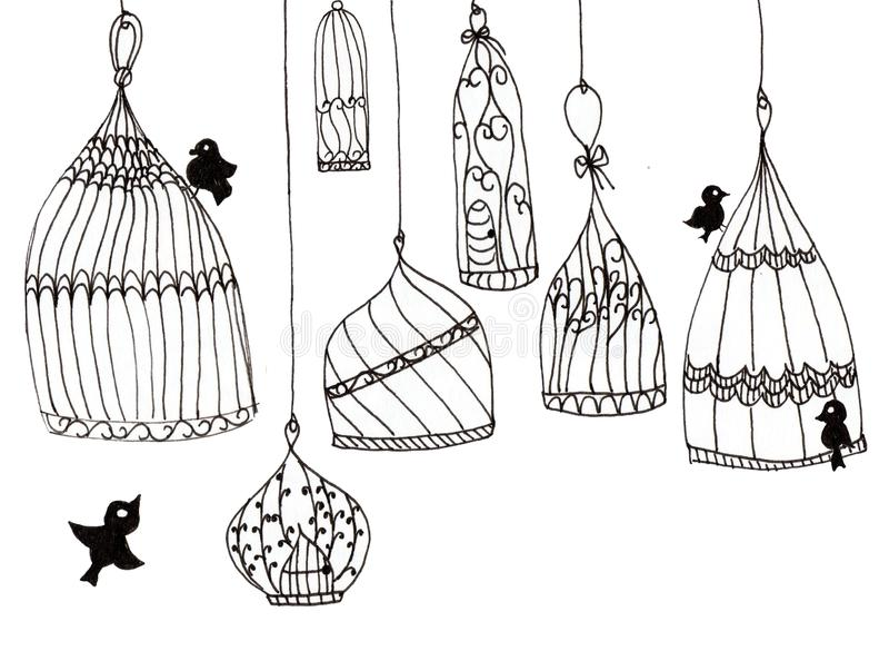 Ejemplo de jaulas simples con los pájaros en un fondo blanco Líneas de contorno negras en un fondo blanco ilustración del vector