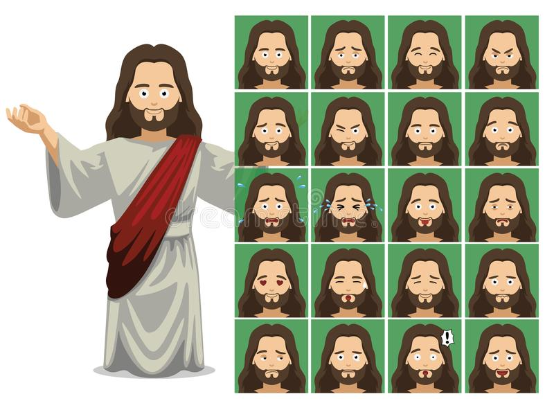 Ejemplo de Jesus Cartoon Emotion Faces Vector de la religión ilustración del vector