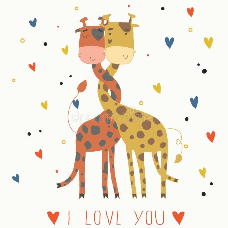 Ejemplo de jirafas en amor. ilustración del vector
