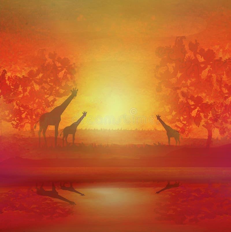 Ejemplo de jirafas salvajes en sabana africana stock de ilustración