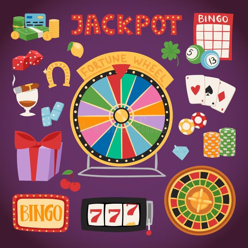 Ejemplo de juego del vector del comodín de la ruleta del dinero de las tarjetas de la veintiuna de los símbolos del juego del cas ilustración del vector