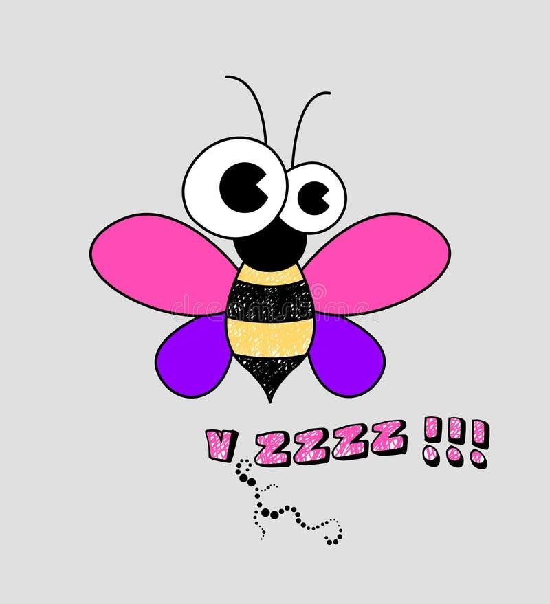 ejemplo de la abeja, impresión de la camiseta de los niños stock de ilustración