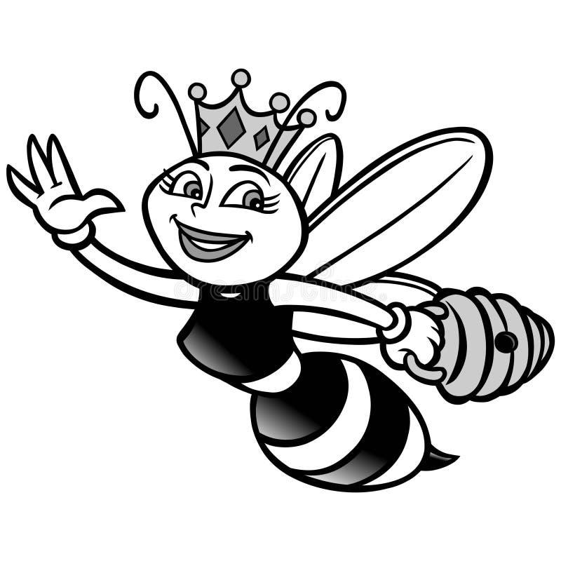 Ejemplo de la abeja reina ilustración del vector