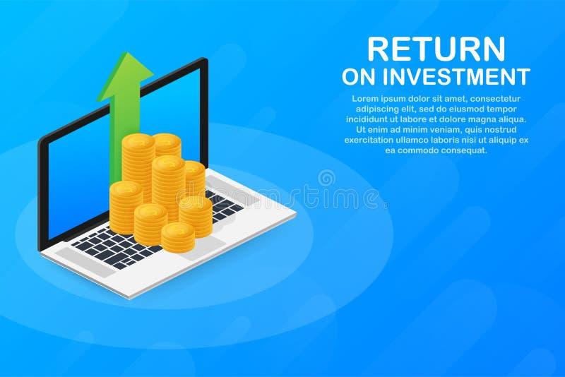 Ejemplo de la acción del vector del concepto de la rentabilidad de la inversión en diseño isométrico Fondo del m?rketing de negoc libre illustration
