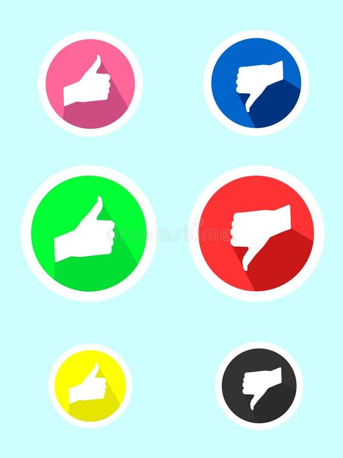 Ejemplo de la acción del vector de los pulgares gráficos del icono del juego plano para arriba y de los pulgares abajo stock de ilustración