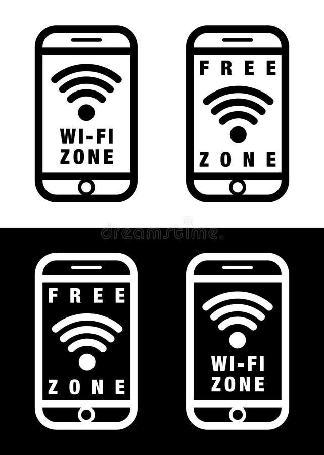 """Ejemplo de la acción del wifi del icono del †libre del vector """" stock de ilustración"""
