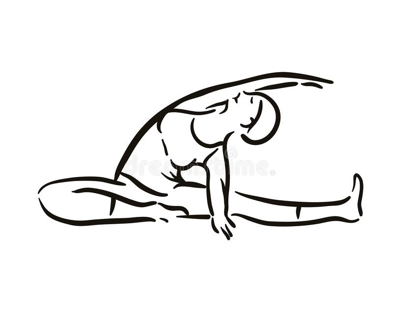 Ejemplo de la actitud de la yoga en el backgroundRelax blanco y meditar Forma de vida sana Entrenamiento de la balanza libre illustration