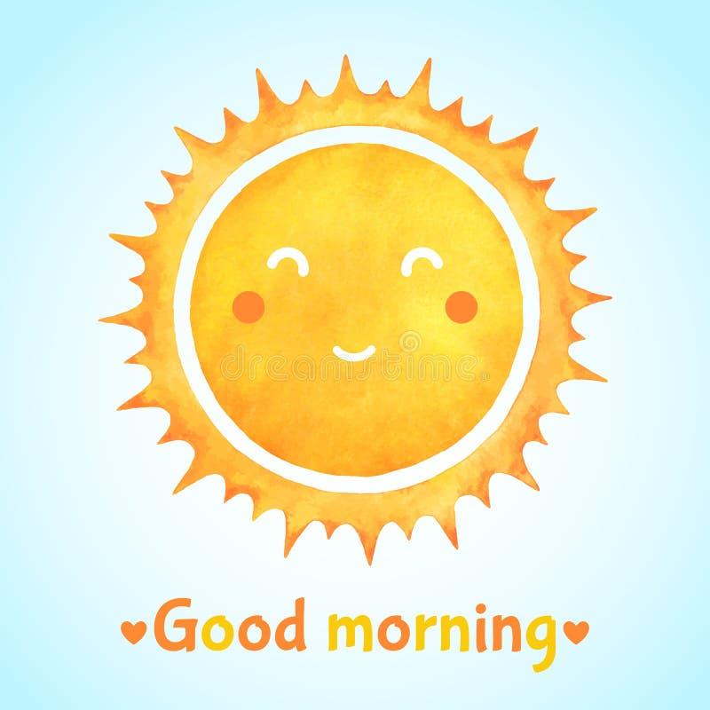 Ejemplo de la acuarela de la buena mañana con el sol sonriente stock de ilustración