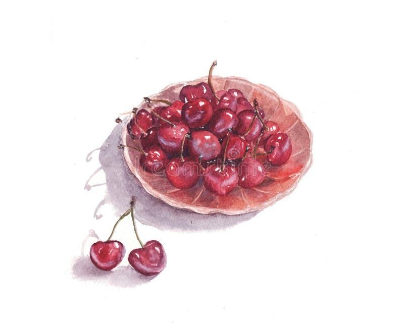 ejemplo de la acuarela de la cereza dulce roja jugosa en una placa aislada en el fondo blanco libre illustration