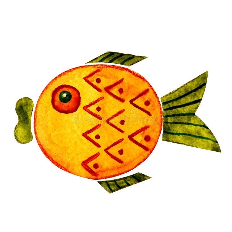 Ejemplo de la acuarela con la imagen de los personajes de dibujos animados - pescados Para el diseño de impresiones, libros, fond libre illustration