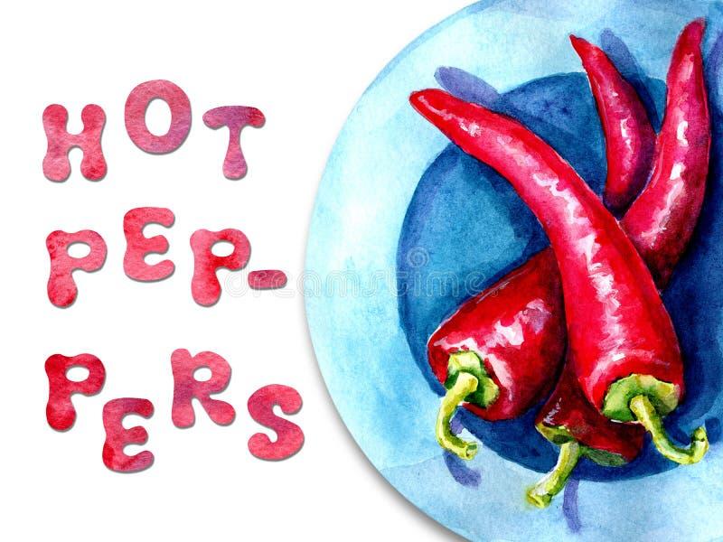 Ejemplo de la acuarela con la imagen de pimientas Concepto para el mercado de los granjeros, productos naturales, vegetarianismo, foto de archivo libre de regalías