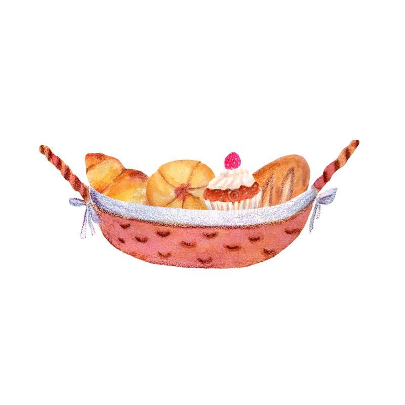 Ejemplo de la acuarela con los elementos de los pasteles libre illustration