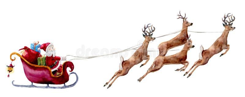 Ejemplo de la acuarela con Santa Claus y los ciervos Papá Noel pintado a mano con los bolsos y las cajas del regalo monta en el t ilustración del vector