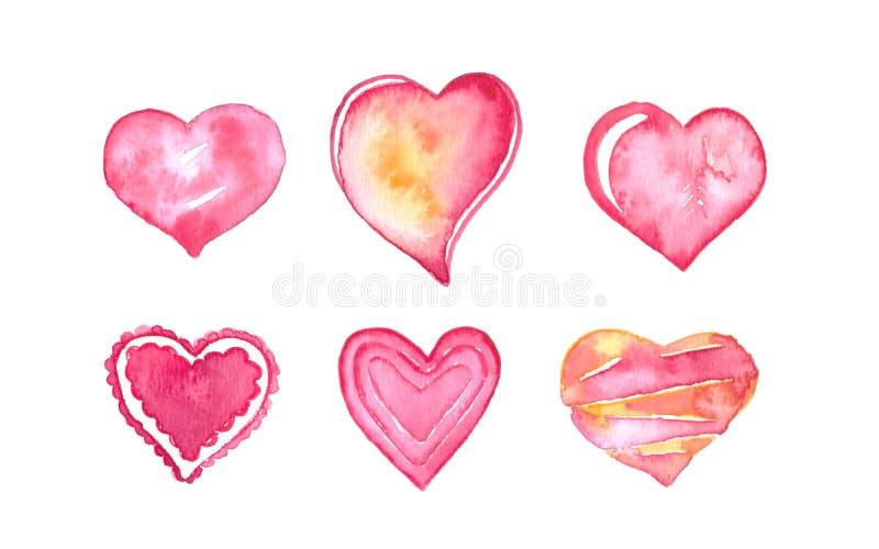 Ejemplo de la acuarela de d?a de San Valent?n Sistema exhausto y pintado de la mano de la acuarela de los corazones fotografía de archivo