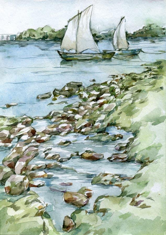 Barcos de navegación en el ejemplo de la acuarela del río ilustración del vector
