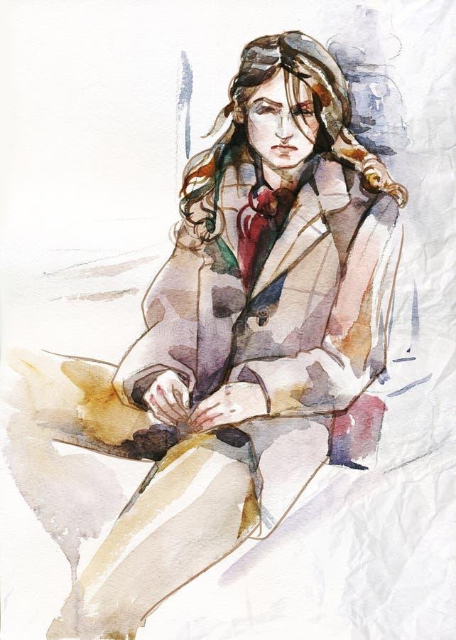 Ejemplo de la acuarela de la muchacha que se sienta hermosa ilustración del vector