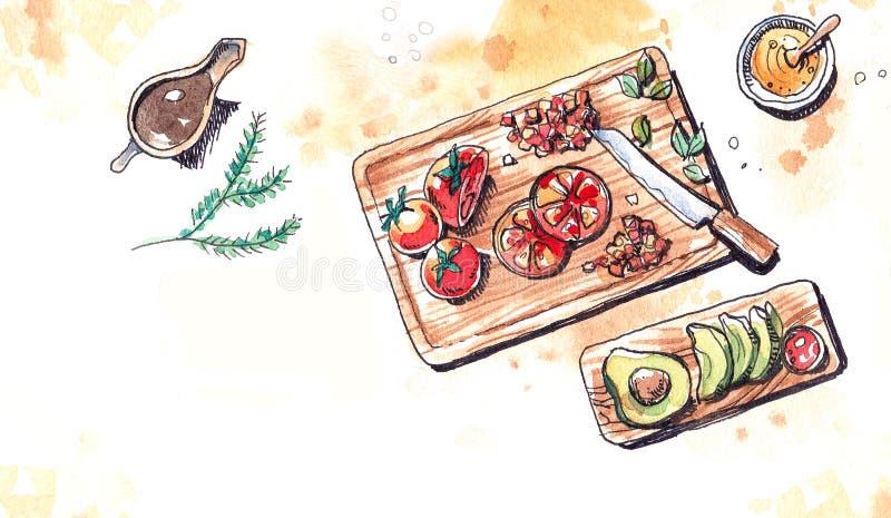 Ejemplo de la acuarela de la preparación de los tomates y de los aguacates libre illustration