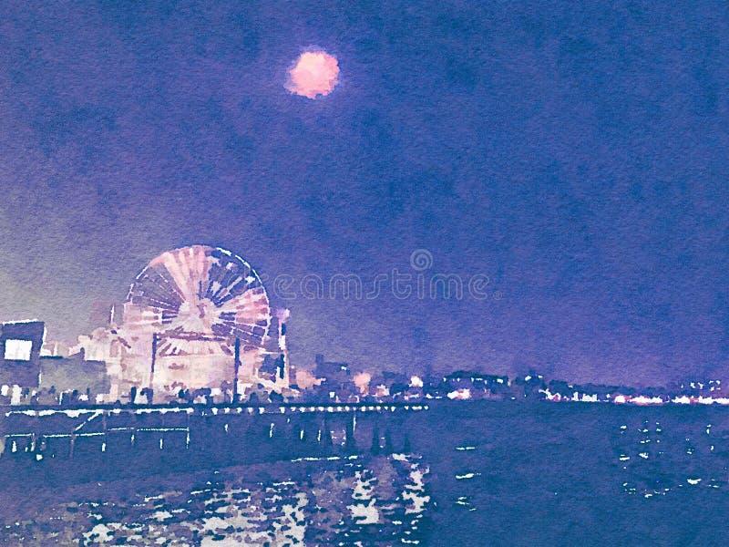 Ejemplo de la acuarela de Santa Monica Pier en la noche stock de ilustración