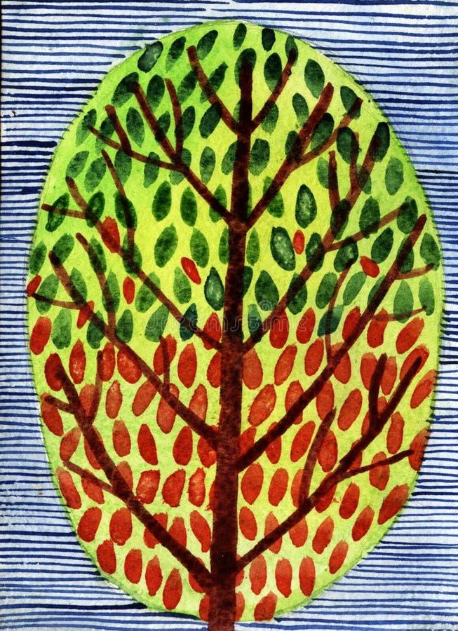 Ejemplo de la acuarela del árbol ornamental fotos de archivo