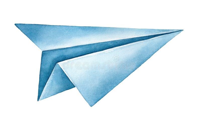 Ejemplo de la acuarela del aeroplano de papel de azules marinos ilustración del vector