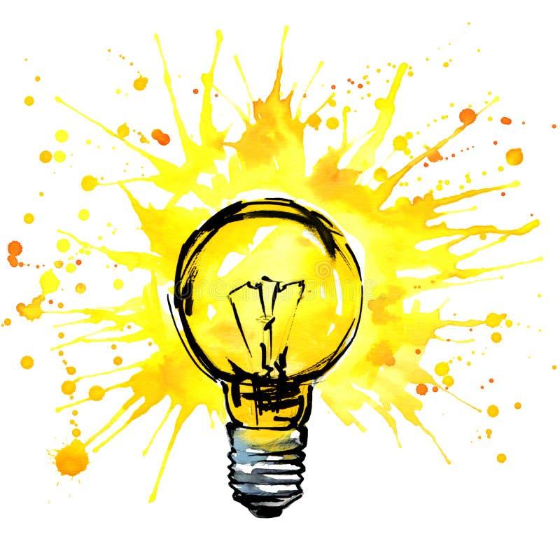 Ejemplo de la acuarela del concepto de la idea de la bombilla Muestra dibujada mano stock de ilustración