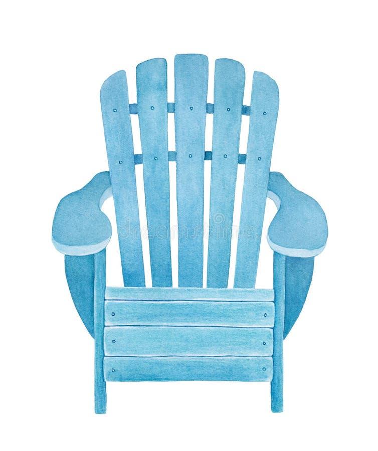 Ejemplo de la acuarela del deckchair de madera azul claro stock de ilustración