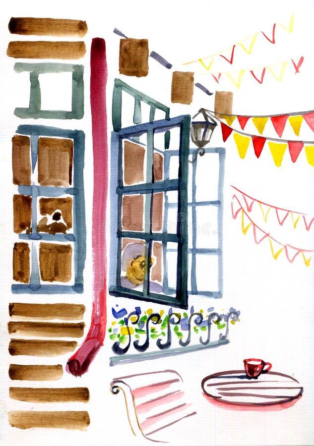 Ejemplo de la acuarela del espacio de la ciudad Ventanas, tabla y banderas del café de la calle stock de ilustración