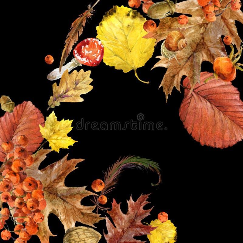 Ejemplo de la acuarela del fondo de la naturaleza del otoño con el lugar para su texto ilustración del vector