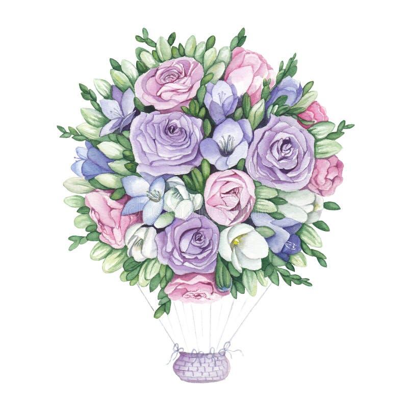 Ejemplo de la acuarela del globo de flores stock de ilustración