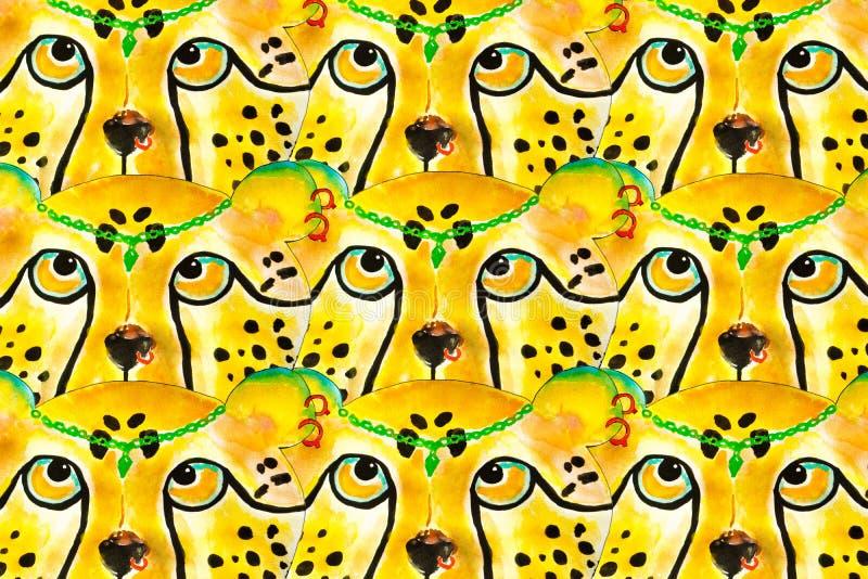Ejemplo de la acuarela del guepardo, dibujado a mano fotografía de archivo