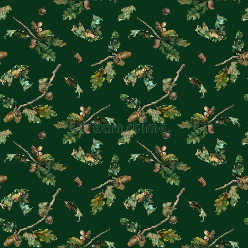Ejemplo de la acuarela del modelo de las hojas de otoño Modelo estacional de la caída con la rama y las bellotas brillantes elega libre illustration