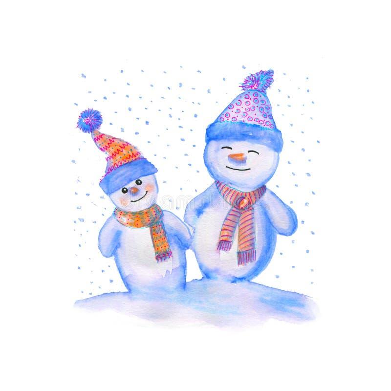 Ejemplo de la acuarela del muñecos de nieve en sombreros y bufandas calientes Símbolo del invierno del Año Nuevo ilustración del vector